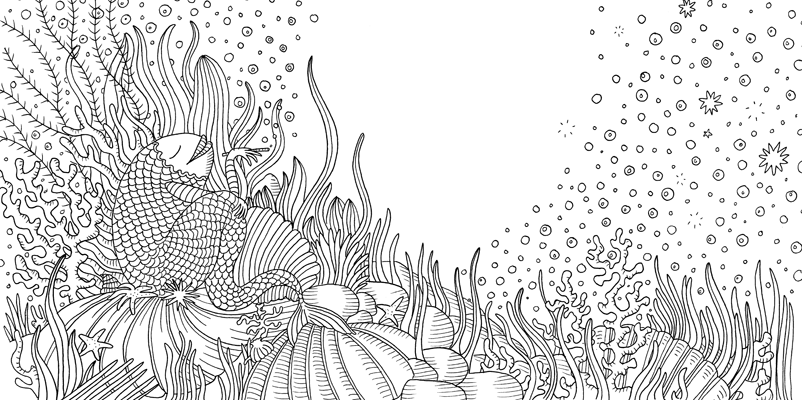 Under the sea black and white drawing, livre à colorier Merveille sous les Mers, dessins Aurélie Castex 1