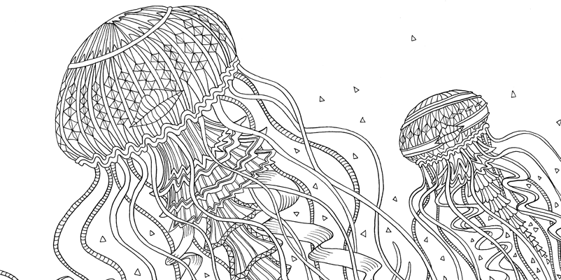 Under the sea black and white drawing, livre à colorier Merveille sous les Mers, dessins Aurélie Castex 2