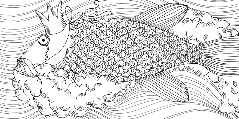 Under the sea black and white drawing, livre à colorier Merveille sous les Mers, dessins Aurélie Castex 10