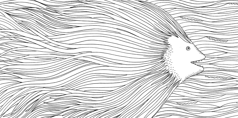 Under the sea black and white drawing, livre à colorier Merveille sous les Mers, dessins Aurélie Castex 15