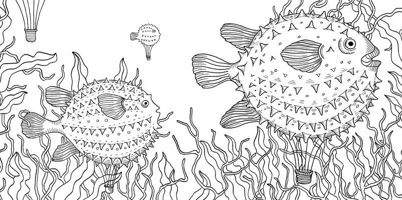 Under the sea black and white drawing, livre à colorier Merveille sous les Mers, dessins Aurélie Castex 17