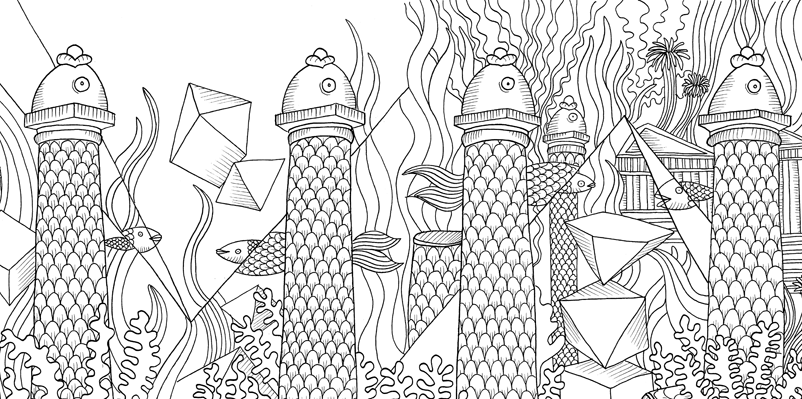 Under the sea black and white drawing, livre à colorier Merveille sous les Mers, dessins Aurélie Castex 18