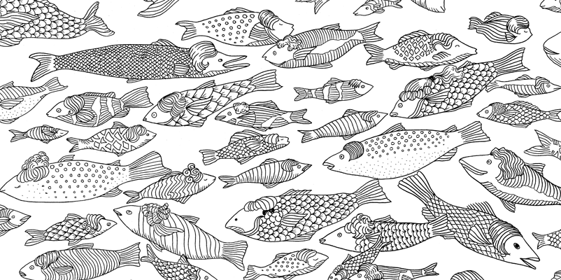 Under the sea black and white drawing, livre à colorier Merveille sous les Mers, dessins Aurélie Castex 19