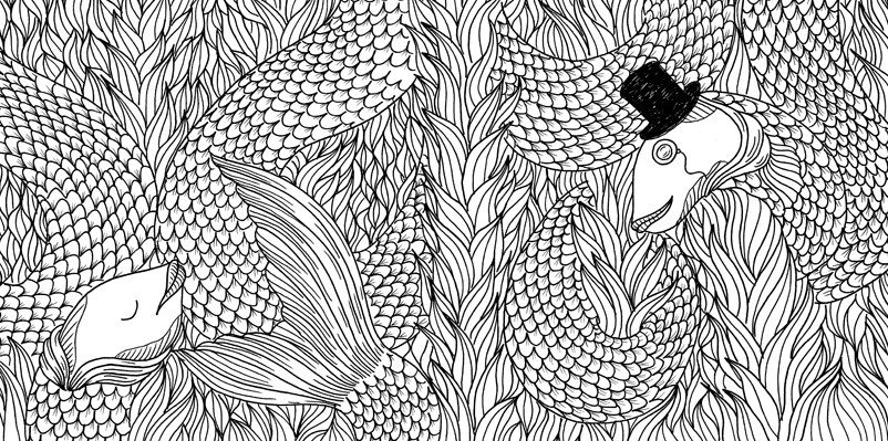 Under the sea black and white drawing, livre à colorier Merveille sous les Mers, dessins Aurélie Castex 25