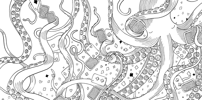 Under the sea black and white drawing, livre à colorier Merveille sous les Mers, dessins Aurélie Castex 26