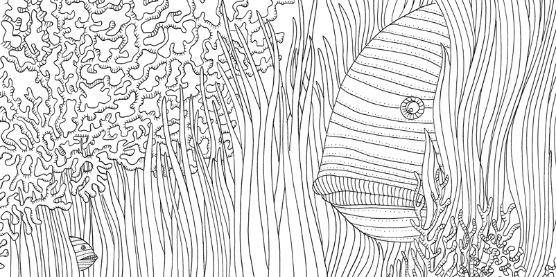 Under the sea black and white drawing, livre à colorier Merveille sous les Mers, dessins Aurélie Castex 28