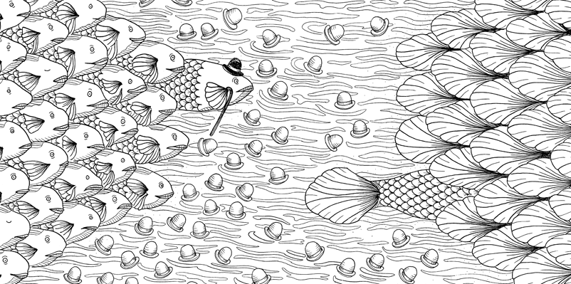 Under the sea black and white drawing, livre à colorier Merveille sous les Mers, dessins Aurélie Castex 32