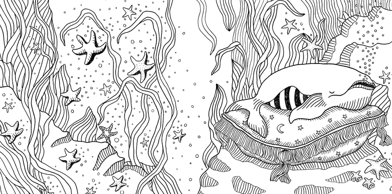 Under the sea black and white drawing, livre à colorier Merveille sous les Mers, dessins Aurélie Castex 33