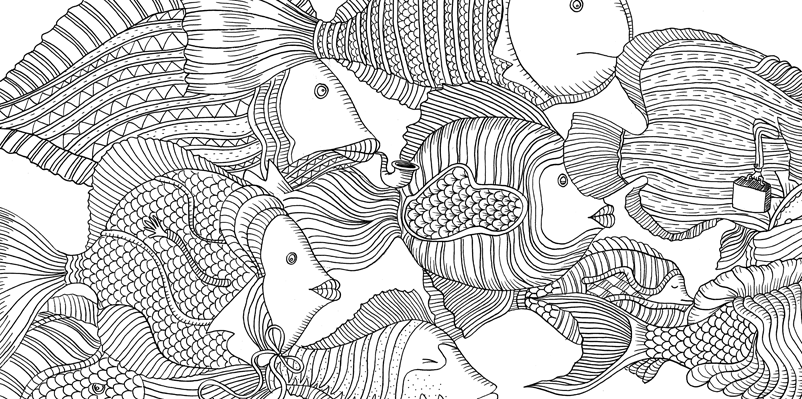 Under the sea black and white drawing, livre à colorier Merveille sous les Mers, dessins Aurélie Castex 34