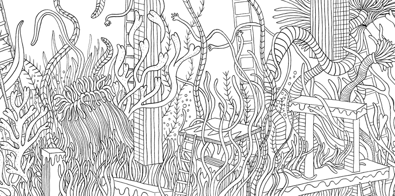 Under the sea black and white drawing, livre à colorier Merveille sous les Mers, dessins Aurélie Castex 35